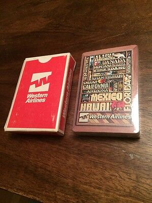 New Sealed Vintage Western Airlines Playing Cards