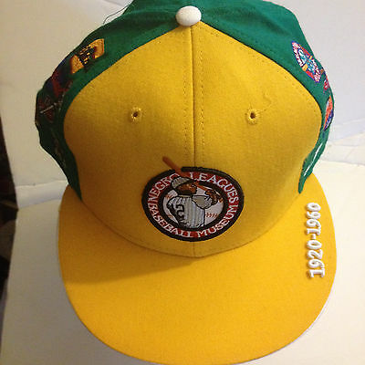 NwT Negro League Museum Fitted Baseball Cap Yellow/Green w/ Team Logos