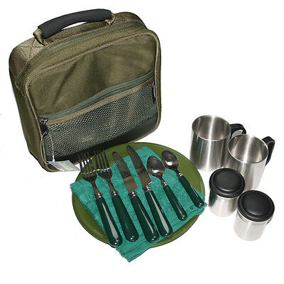 NEW NGT Deluxe Session Camping Fishing Cutlery Bag Set Plates Knives Forks+Mugs.
