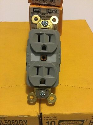 Hubbell HBL5262GY Duplex Receptacle HD Industrial Grade 15 amp 125V 5-15R Gray