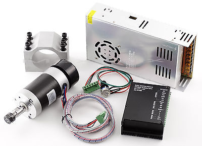CNC 400W Brushless Spindle Motor & Mach3 PWM Driver Controller &Mount +480W PSU