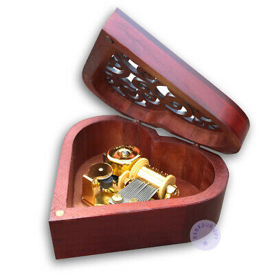 Wooden Heart Shape Music Box With Sankyo Musical Movement (48 Tunes Option)