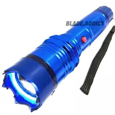 "7"" Military SWAT Tactical 300MV Stun Gun Rechargeable LED Flashlight Blue NEW"