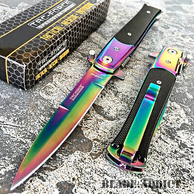 TAC-FORCE Spring Assisted Open RAINBOW Stiletto TACTICAL Folding Pocket Knife