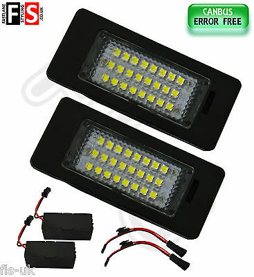 2 X Audi / Vw Number Plate Lights White Led 24Smd Canbus 100% Error Free