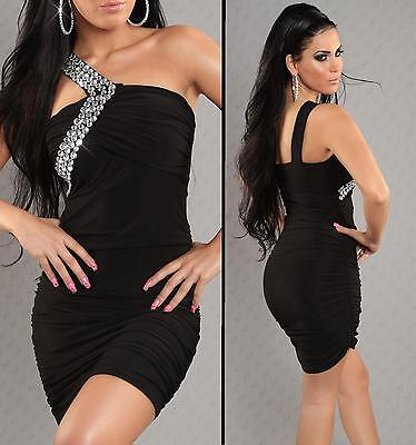 Black Embellished One Shoulder Bodycon Party Mini Dress size 8 10