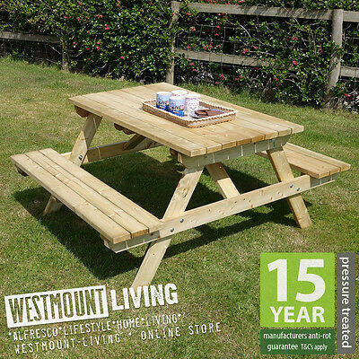 New 4Ft 5Ft 6Ft Wooden Pressure Treated Garden Pub Picnic Bench Table