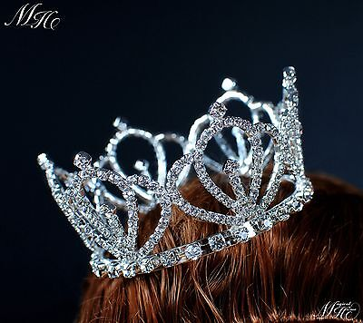 Small Princess Tiara Wedding Bridal Crown Headpiece Clear Crystal Pageant Party