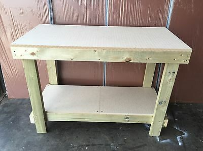 New Wooden Work Bench Heavy Duty 18Mm Mdf Top Very Solid, 4Ft Hand Made In Uk