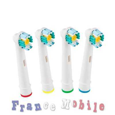 4 Tetes Brossette Remplacement pour Brosse dents 3D White Braun Oral B EB-18A