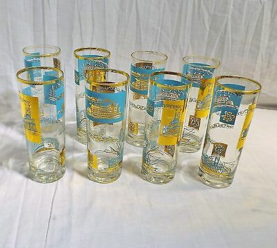 Set of 8 Libbey Retro Clear w Teal & Gold Tumblers Glasses Paddlewheel Riverboat