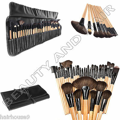Professional 32 pc Kabuki Make Up Brush Set & Cosmetic Brushes Case