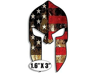 1.6x3 inch HARDHAT SIZED Spartan Shaped American Flag Sticker - gun molon us usa