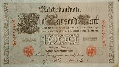 1910 German 1000 Reichs Mark Bank Note Uncirculated!