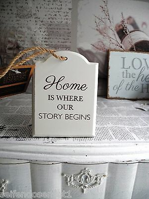 home our story shabby chic schriftzug holzschild schild schrift spruch wei holz eur 2 46. Black Bedroom Furniture Sets. Home Design Ideas
