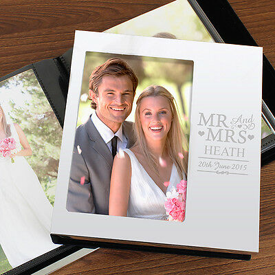 Personalised Mr And & Mrs Aluminium Silver Photo Album 6x4 For Wedding Day Gift