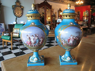 Pair of Antique French Sevres Porcelain Turquoise / Teal Urns