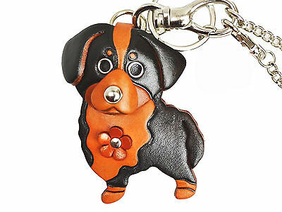 Bernese Mountain Leather Dog Keychain Bag Charm VANCA Made in Japan #26042