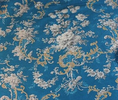 """Antique 19thC Lovely French Floral & Scroll Cotton Toile Yardage~2yds L X 30""""W"""