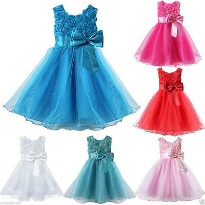 Kid Girls Party/Bridesmaid/Prom/Wedding/Christening Formal Flower Bow Dress 3-8Y