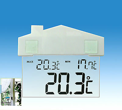 Window Thermometer Digital Hydrometer Suction Cup Indoor Outdoor Weather Station