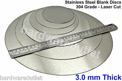 "3 mm 1/8"" Thick STAINLESS STEEL Blank DISCS 25 - 300mm Precision Laser Cut PC1"