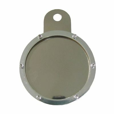Tax Disc Holder Round Silver Rim 6 Studs Silver Backing