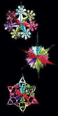 Set Of 3 Foil Hanging Christmas Decorations Star Snowflake Bright Multi Colour