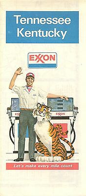 1978 EXXON OIL Road Map KENTUCKY TENNESSEE Nashville Lexington Louisville Tiger