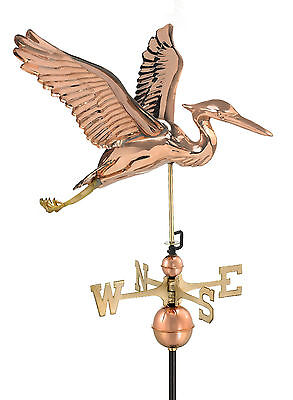 Large Heron Polished Copper Weathervane