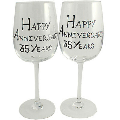 35th Year Wedding Anniversary Pair of Wine Glasses (Black/Silver)