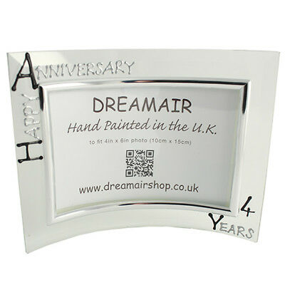 Personalised 4 Year Wedding (Linen) Anniversary Frame (L) (Blk/Sil)