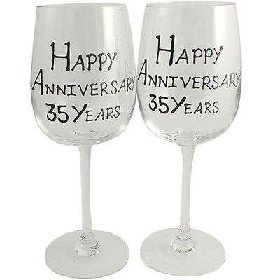 Personalised 35 Year (Coral) Wedding Anniversary Pair of Wine Glasses (Blk/Sil)