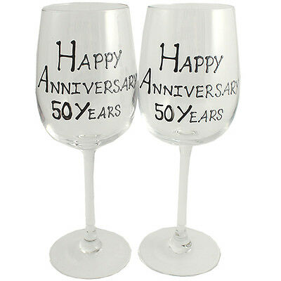 50th Year Wedding Anniversary Pair of Wine Glasses (Black/Silver)