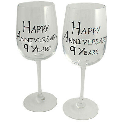 Personalised 9 Year (Pottery) Wedding Anniversary Pair of Wine Glasses (Blk/Sil)