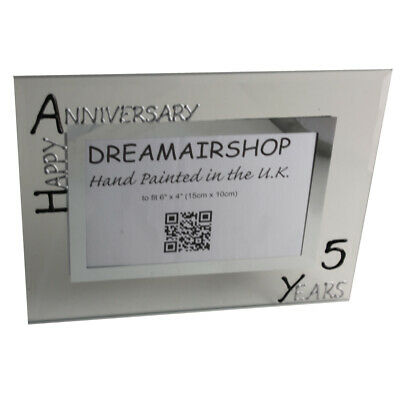 Personalised 5 Year Wedding (Wood) Anniversary Frame (L) (Blk/Sil)