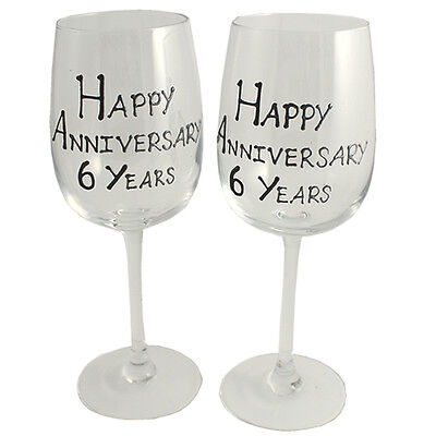 Personalised 6 Year (Iron) Wedding Anniversary Pair of Wine Glasses (Blk/Sil)