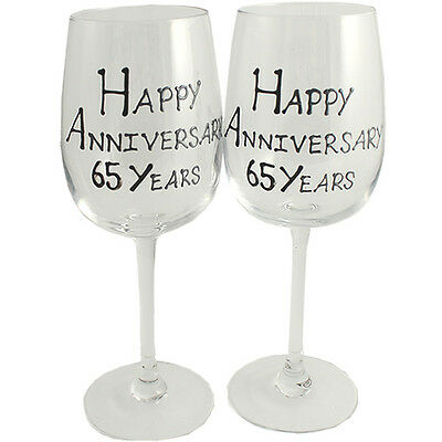 65th Year Wedding Anniversary Pair of Wine Glasses (Black/Silver)