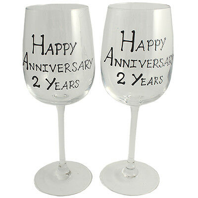 Personalised 2 Year (Cotton) Wedding Anniversary Pair of Wine Glasses (Blk/Sil)