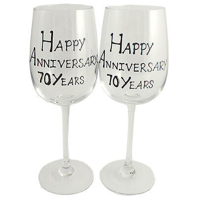 Personalised 70 Year (Platinum) Wedding Anniversary Wine Glasses (Blk/Sil)