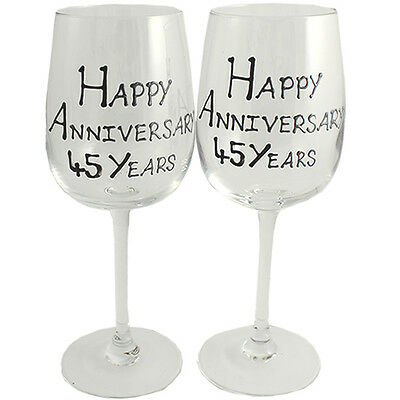45th Year Wedding Anniversary Pair of Wine Glasses (Black/Silver)