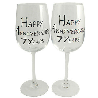 Personalised 7 Year (Wool) Wedding Anniversary Pair of Wine Glasses (Blk/Sil)