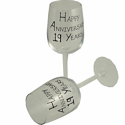 19th Year Wedding Anniversary Pair of Wine Glasses (Black/Silver)