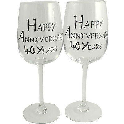 Personalised 40 Year (Ruby) Wedding Anniversary Pair of Wine Glasses (Blk/Sil)