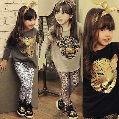 2Pcs Kids Baby Girls Leopard Long Sleeve T-shirt + Leggings Pants Set Outfit New