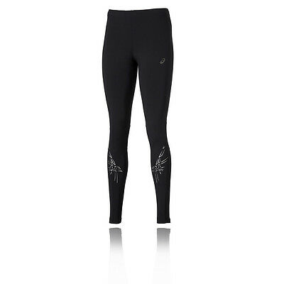 ASICS Stripe Womens White Black Motiondry Long Running Sports Tights Bottoms