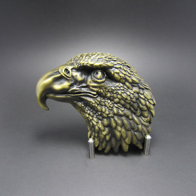 Eagle Head Vintage Brass Pewter Metal Belt Buckle
