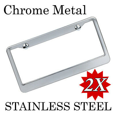 2x custom printed chrome stainless steel metal license plate frame tag cover