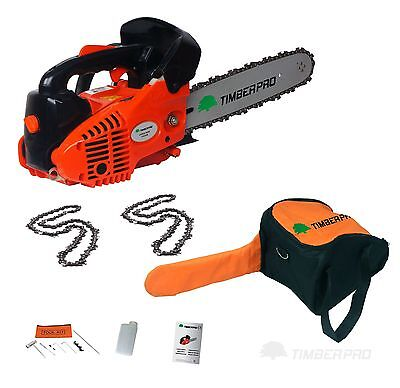 "26cc 10"" TIMBERPRO Petrol Top Handle Chainsaw. Topping Chain Saw with 2 Chains."
