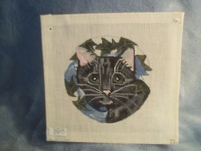 Needlepoint canvas, black cat